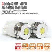 3CHIP SMD LED+LARGE LED X 4 T20ウェッジダブル球 白 2個セット
