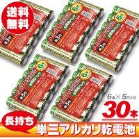 アルカリ乾電池 単3形 6本パック×5パック  30本セット お得な小分けタイプ 劣化防止に小分けがお得!